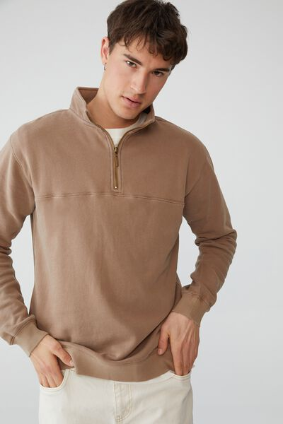 Quarter Zip Fleece, TAUPE
