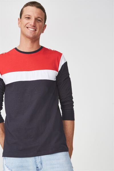 Tbar Long Sleeve, TRUE NAVY/STRONG RED/WHITE/NEUE LAB BLOCKED