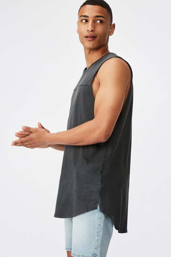 Long Curve Hem Muscle, WASHED BLACK/CAMO PANEL