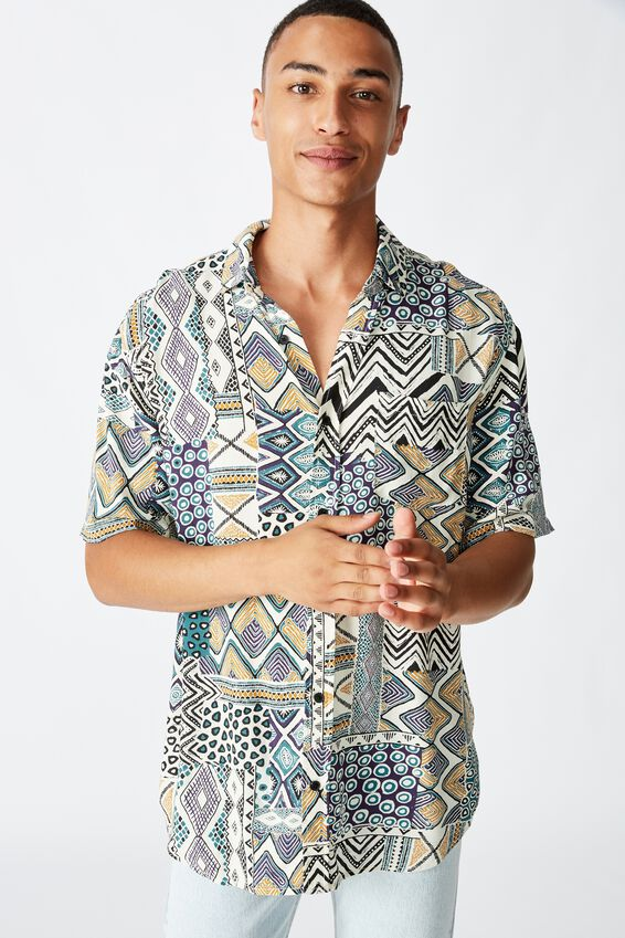 91 Short Sleeve Shirt, TRIBAL PATCHWORK