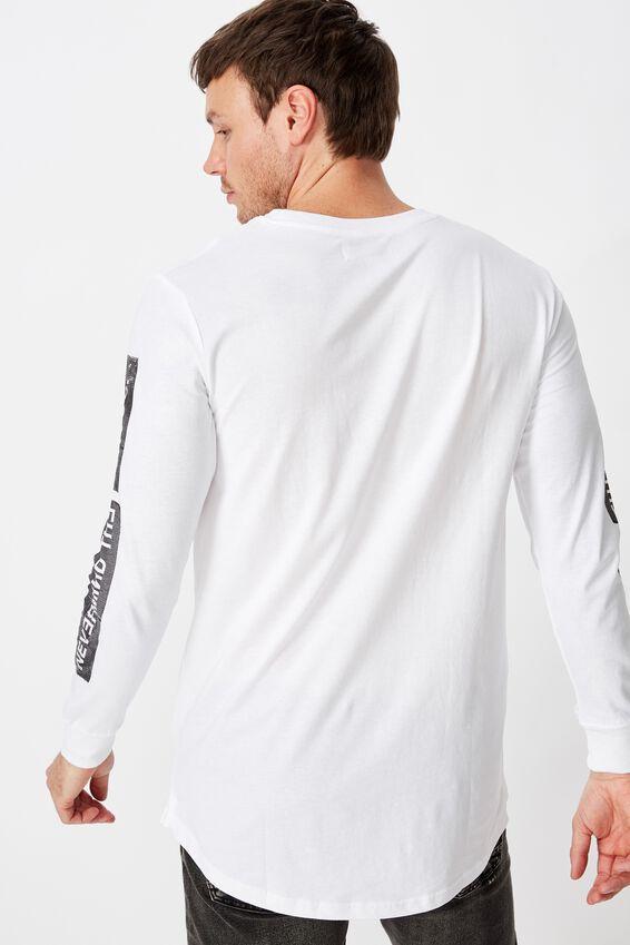 Long Sleeve Curved Hem, WHITE/NY.LA CHAOS