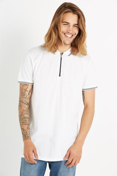 Ae Short Sleeve Longline Zip Polo, WHITE
