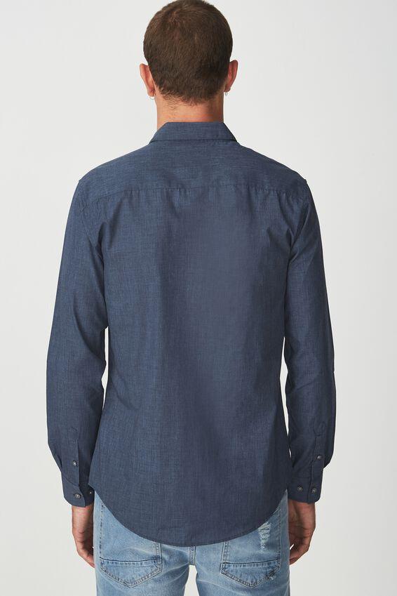 Slim Smart Shirt, NAVY MARLE
