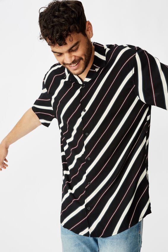 Festival Shirt, BLACK ANGLED STRIPE