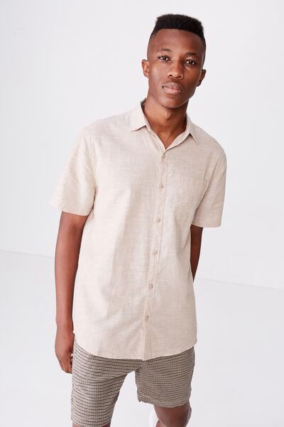 Premium Linen Cotton Short Sleeve Shirt, TAN WHITE