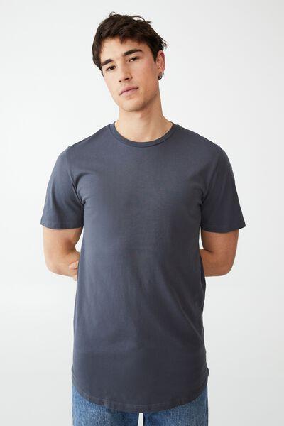 Organic Longline T-Shirt, DUSTY DENIM