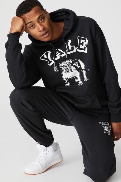 Premium Collab Fleece Pullover, LCN YAL WASHED BLACK/YALE-VINTAGE BULLDOG