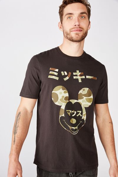 Tbar Collab Character T-Shirt, LCN DIS SK8 WASHED BLACK/MICKEY MOUSE - CAMO