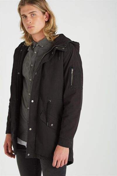 Mash Up Surplus Jacket, WASHED BLACK