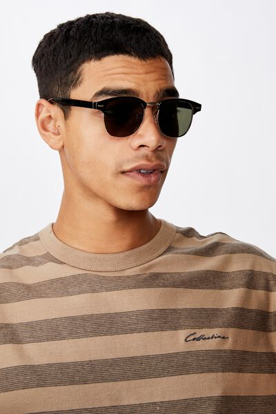 Leopold Sunglasses, BLACK GLOSS/GOLD/GREEN