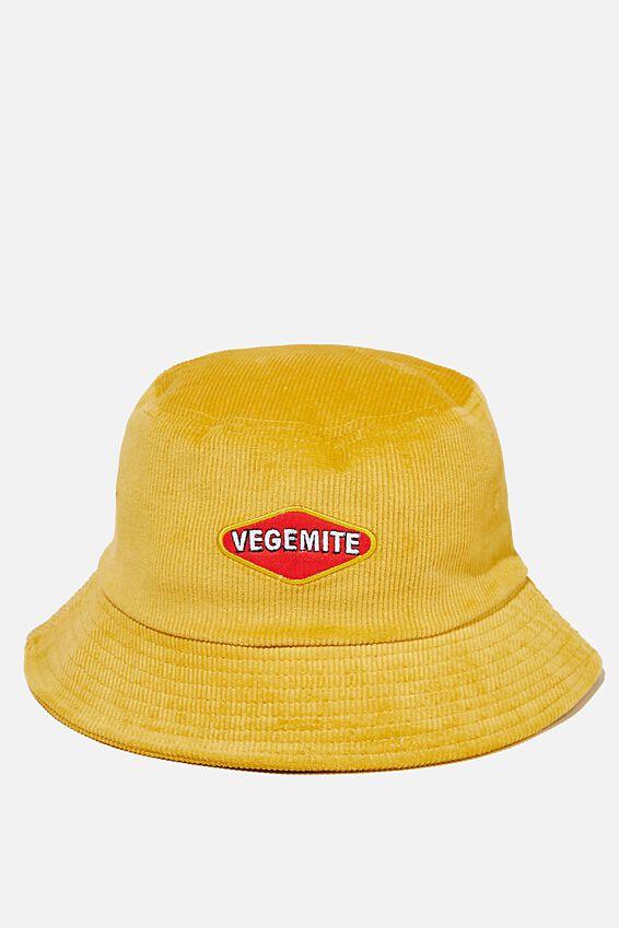 Special Edition Bucket Hat, LCN VEGEMITE/GOLD CORDUROY