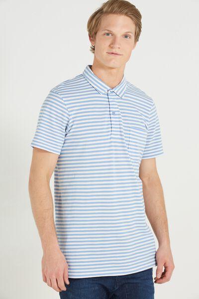 Short Sleeve Prep Polo Slim Fit, SKY STRIPE