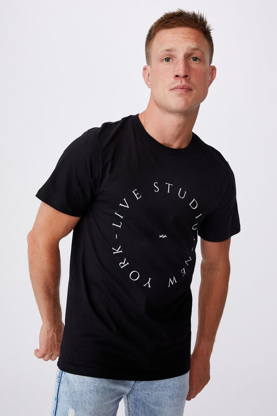 Tbar Text T-Shirt, BLACK/MINIMAL CIRCLE