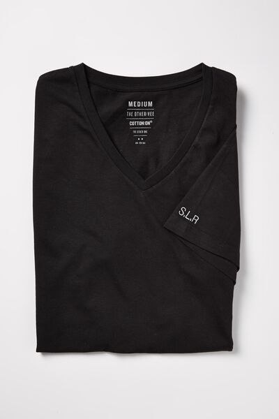 Embroidered Vee Neck Tee, BLACK