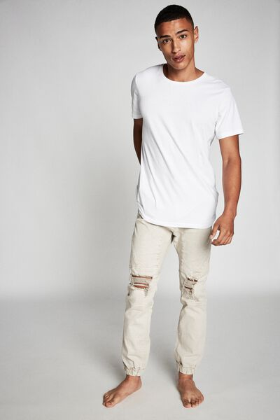 Slim Denim Jogger, WASHED SAND MOTO + RIPS