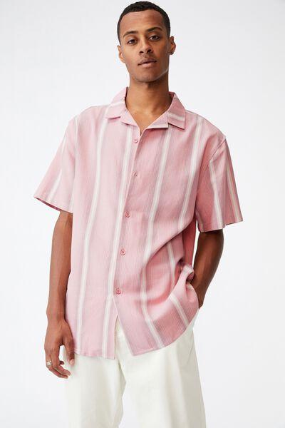 Textured Short Sleeve Shirt, SALMON STRIPE