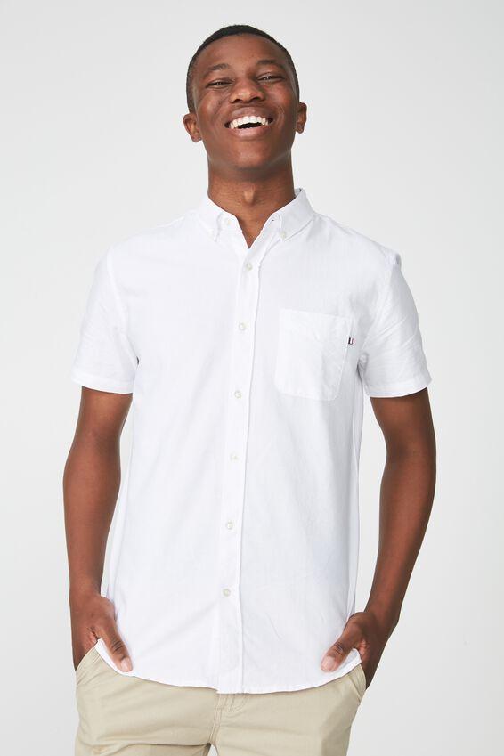 Vintage Prep Short Sleeve Shirt, WHITE OXFORD