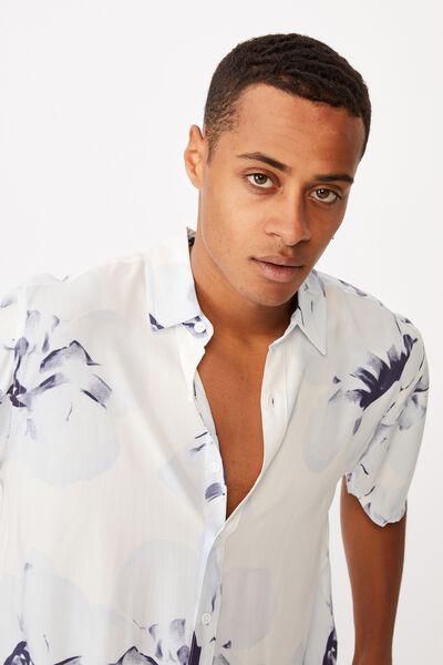 Short Sleeve Resort Shirt, WHITE INVERT FLORAL