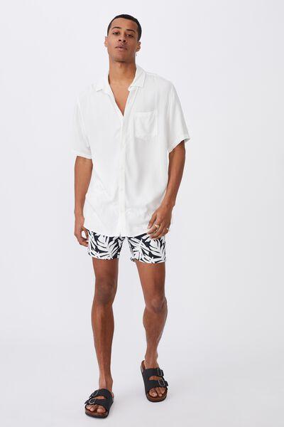 Swim Short, WHITE PALM FRONDS