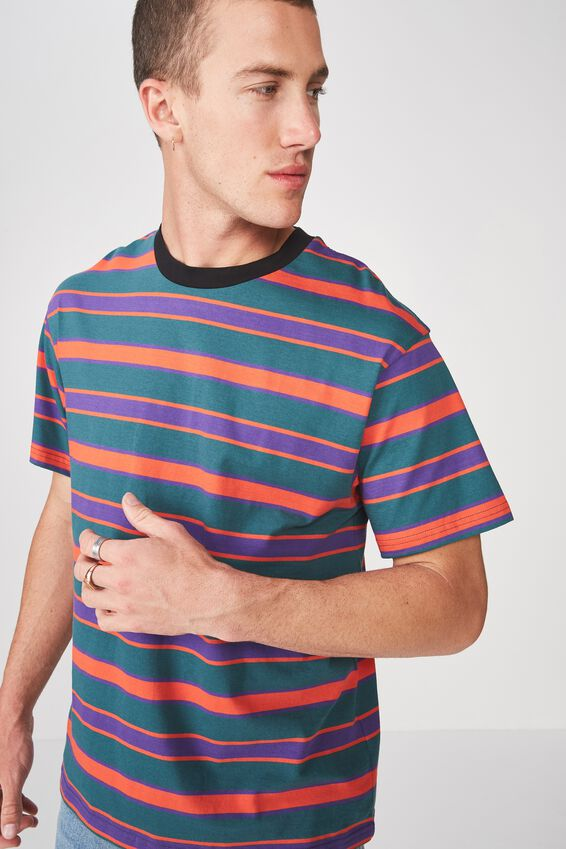 Downtown Loose Fit Tee, DARK TEAL/PRISM VIOLET/MADARIN RED