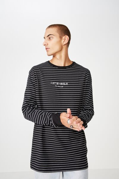 Tbar Long Sleeve, BLACK/WHITE STRIPE/DARK VICES NY