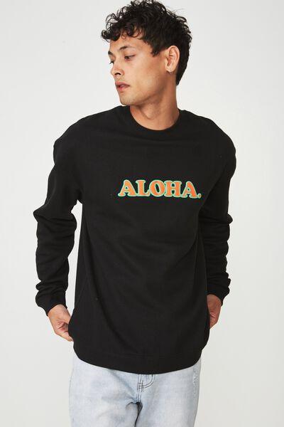 Summer Drop Shoulder Crew Fleece, BLACK/ALOHA