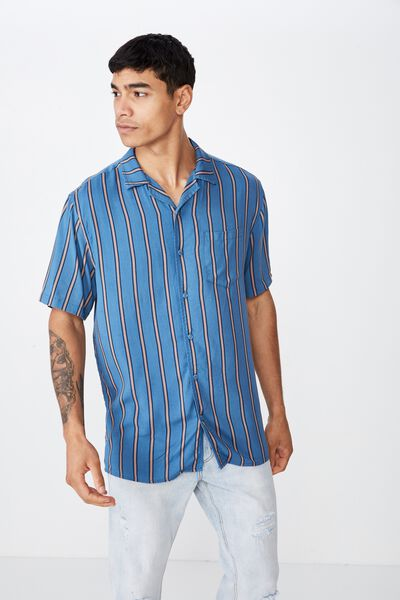 Festival Shirt, BLUE DENIM TAN STRIPE