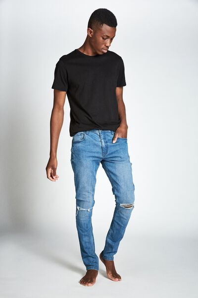 Super Skinny Jean, LAUNDRY BLUE + RIPS
