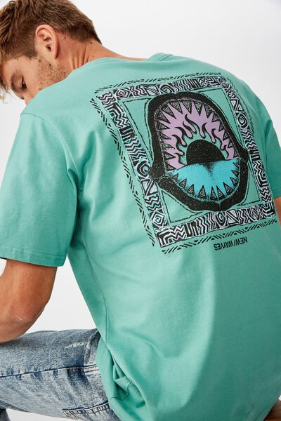 Tbar Art T-Shirt, SK8 DUSTY TEAL/SHARK JAWS