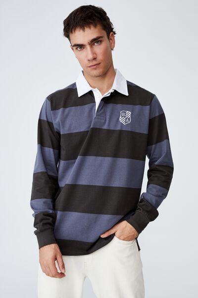 Rugby Long Sleeve Polo, DUSTY DENIM BOLD STRIPE