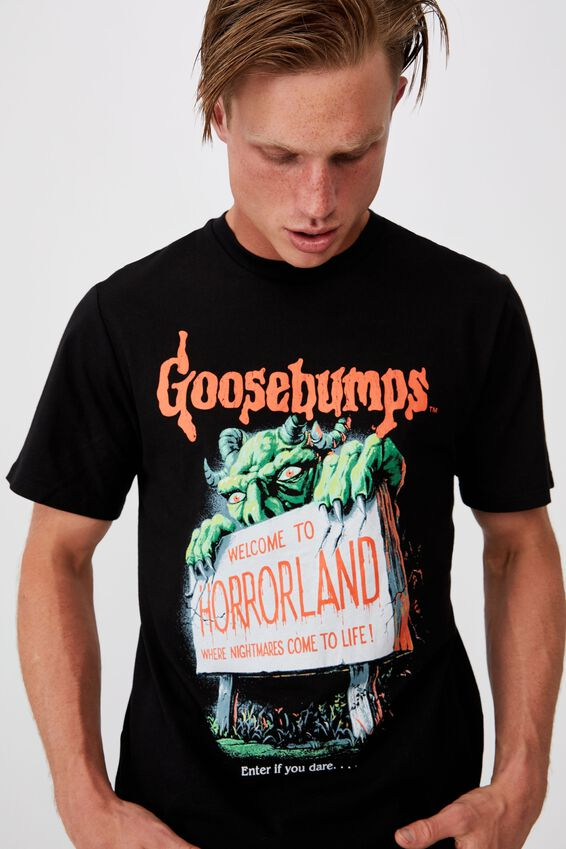 Tbar Collab Movie And Tv T-Shirt, LCN SON BLACK/GOOSEBUMPS - HORRORLAND