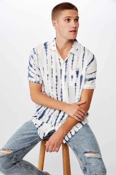 91 Short Sleeve Shirt, WHITE INDIGO VERTICAL TYEDYE
