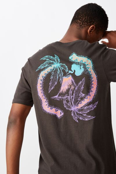 Tbar Art T-Shirt, SK8 WASHED BLACK/PALM TREE CIRCLE