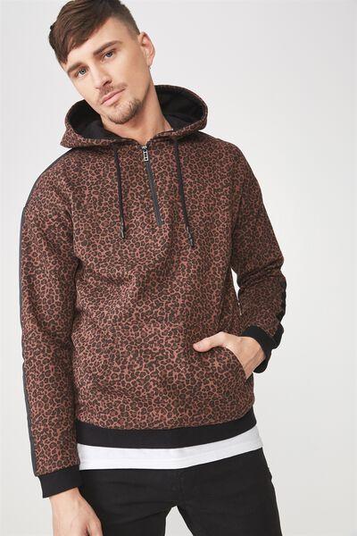 Drop Shoulder Pullover Fleece, LEOPARD/BLACK