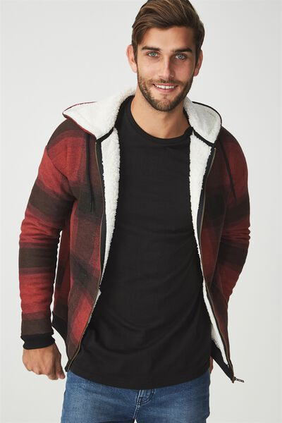 Premium Zip Hood, RED/BLACK CHECK