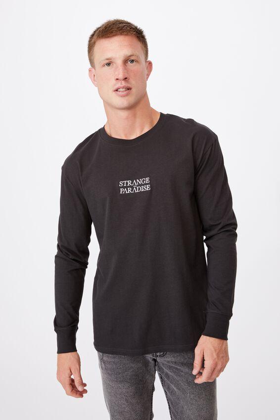 Tbar Long Sleeve T-Shirt, WASHED BLACK/STRANGE PARADISE EMBROID