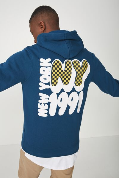 Fleece Pullover 2, CORAL BLUE/NEON PEACH DC/NY 1991