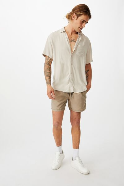 Cuban Short Sleeve Shirt, STONE