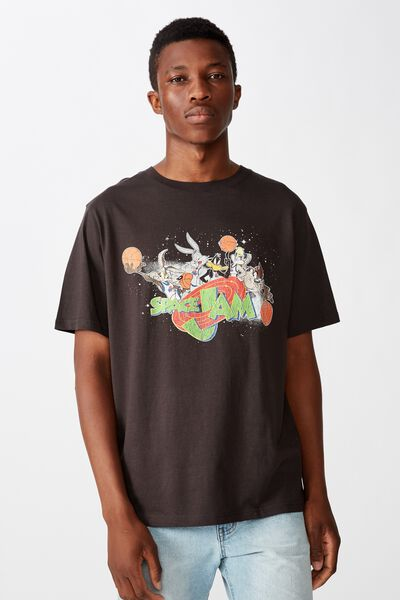 Tbar Collab Movie And Tv T-Shirt, LCN WB WASHED BLACK SPACE JAM - TUNE SQUAD