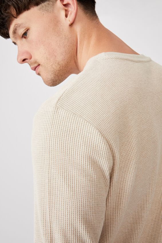 Waffle Long Sleeve T-Shirt, CLAY STONE TWISTED YARN