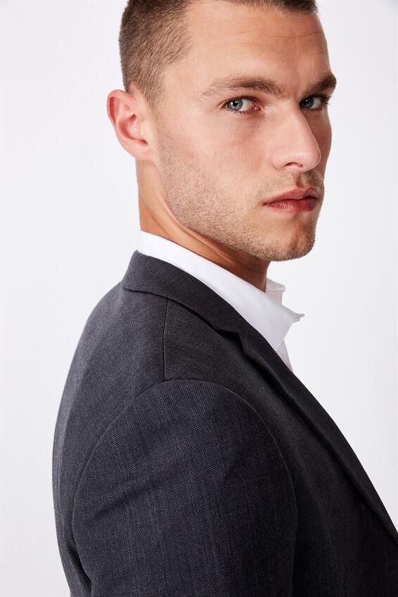 Wool Blend Slim Suit Jacket, CHARCOAL