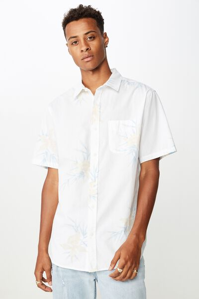 Short Sleeve Resort Shirt, BAMBOO FLORAL WHITE
