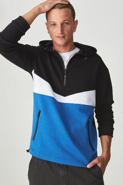 Drop Shoulder Pullover Fleece, BLACK/WHITE/BLUE DELIGHT/UNTITLED NO 7