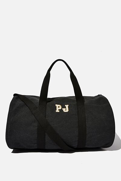 Initials Barrel Duffle Personalised, WASHED BLACK CANVAS