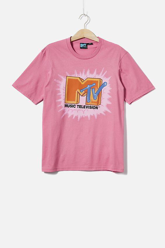 Tbar Collab Pop Culture T-Shirt, LCN MTV SK8 FADED FUSCHIA/MTV - VINTAGE LOGO