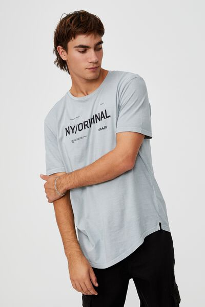 Longline Scoop T-Shirt, BLUE HAZE/NY ORIGINAL