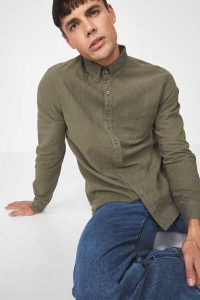 Premium Linen Cotton Long Sleeve Shirt, SAGE