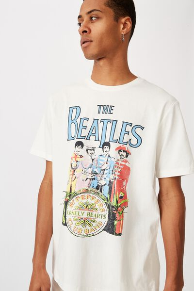 Tbar Collab Music T-Shirt, LCN APP VINTAGE WHITE/THE BEATLES - SGT PEPPERS