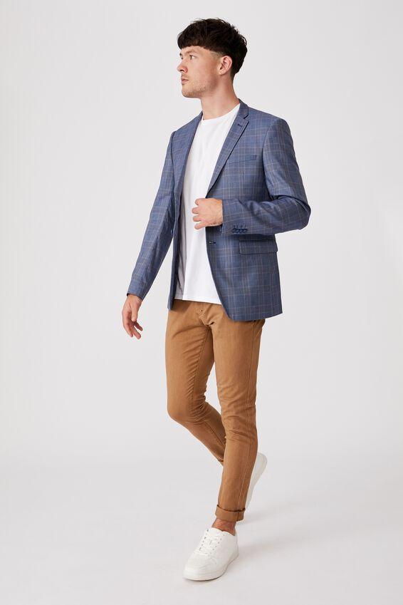 Fashion Slim Stretch Suit Jacket, BLUE CHECK