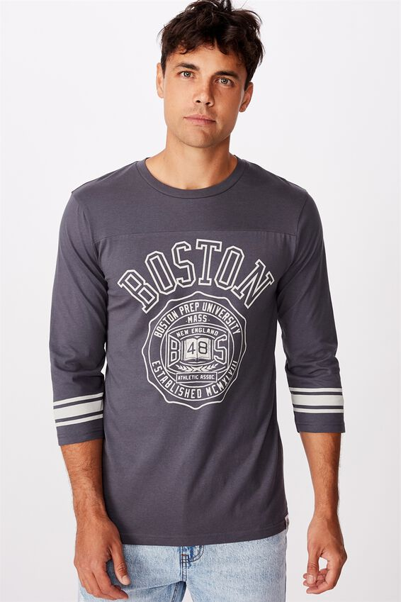 Tbar 3/4 Baseball Tee, LATE NIGHT BLUE/BOSTON MCMXVIII